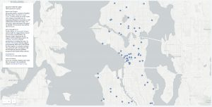 a map of seattle showing dots for locations where poets have written a poem